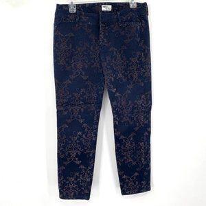 OLD NAVY Diva Pant Velvet Print Navy Blue 10 Ankle